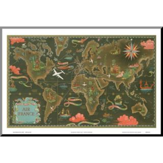 Art   Air France World Map Flight Routes c.1948 Mounted Print