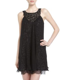 Crystal Embellished Leopard Print Shift Dress, Black