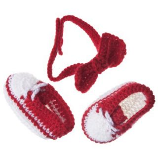 Sodorable Infant Girls Bow Headband and Bootie Set   Red/White