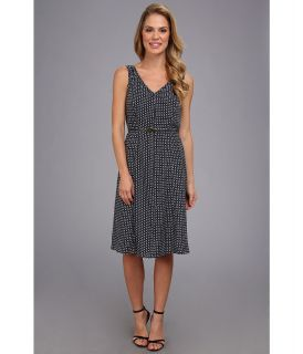 Jones New York Sleeveless Dress w/ Raw Edge Womens Dress (Blue)