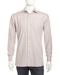 Small Check Long Sleeve Shirt, Chestnut