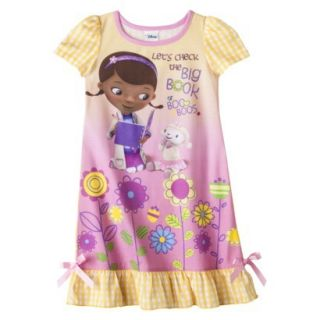 Doc McStuffins Toddler Girls Short Sleeve Nightgown   Yellow 4T