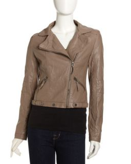 Faux Leather Moto Jacket, Taupe