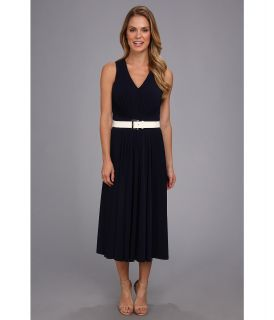 Anne Klein Sleeveless Crepe Jersey Riding Dress Womens Dress (Navy)