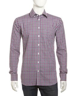 Plaid Check Long Sleeve Shirt, Wineberry