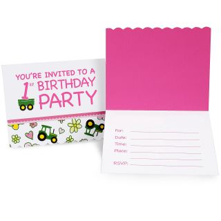 John Deere Pink 1st Birthday Invitations