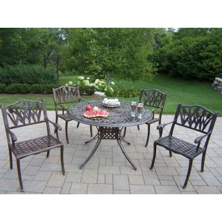 Oakland Living Capitol Cast Aluminum 48 in. Tulip Patio Dining Set   Seats 4