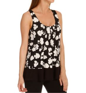 Anne Klein 8510382 Black & White Sleeveless Top w/ Soft Bra