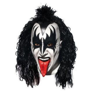 Adult KISS Demon Deluxe Latex Full Mask With Hair   One Size Fits Most