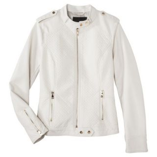 Mossimo Womens Faux Leather Jacket  White M