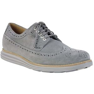 Cole Haan Mens Lunargrand Long Wingtip Oxford Grey Suede Camo Shoes, Size 13 M   C12527