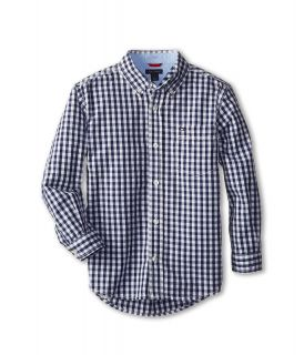 Tommy Hilfiger Kids Baxter L/S Woven Shirt Boys Long Sleeve Button Up (Navy)