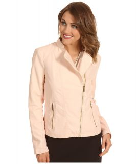 Calvin Klein Faux Leather Moto Jacket Womens Coat (Pink)