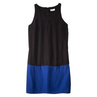 Merona Womens Colorblock Hem Shift Dress   Black/Waterloo Blue   XS