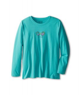 Life is good Kids Crusher L/S Watercolor SunGlasses Tee Girls Long Sleeve Pullover (Blue)