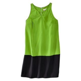 Merona Womens Colorblock Hem Shift Dress   Zuna Green/Black   S
