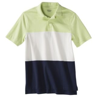 Mens Classic Fit Colorblock Polo Shirt Navy white yellow L