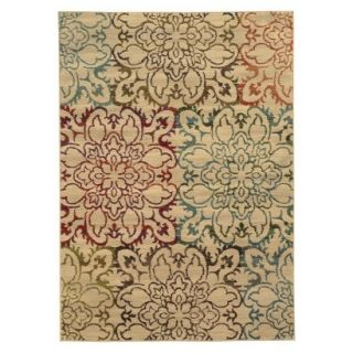 Floral Area Rug   Tan (5x76)