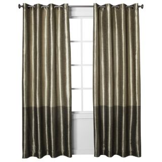 Threshold Banded Faux Silk Window Panel   Taupe (54x95)
