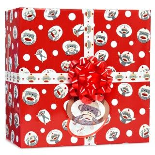 Sock Monkey Red Gift Wrap