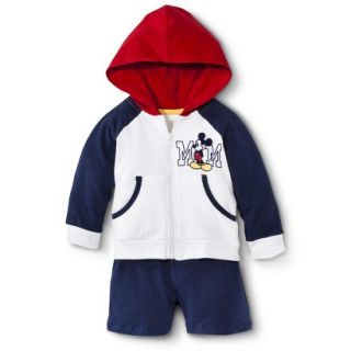 Disney Newborn Boys 2 Piece Mickey Mouse Set   White/Blue/Red 0 3 M