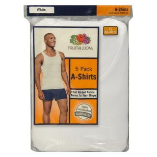 Fruit of the Loom Mens A Shirts 5 Pack   White XL