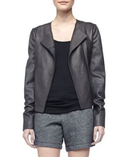 Snake Embossed Leather Jacket   Vince