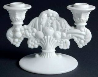 Indiana Glass Garland Milkglass (Fruit) Double Light Candlestick   Milk Glass, F