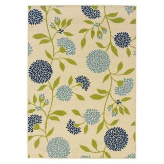 Crystal Floral Indoor/Outdoor Area Rug   Ivory/Blue (67x96)