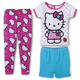 Hello Kitty Toddler Girls 3 Piece Short Sleeve Pajama Set   Pink 4T