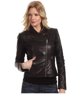 Calvin Klein Leather Moto Jacket Womens Coat (Black)