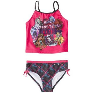Monster Chic Girls 2 Piece Tankini Swimsuit Set   Raspberry 14 16