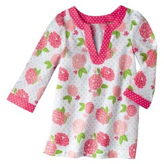Circo Infant Toddler Girls Long Sleeve Floral Cover Up   White/Coral 2T