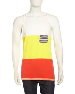 Colorblock Jersey Tank Top, Canary Yellow