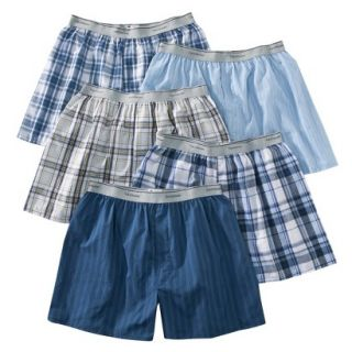 Fruit of the Loom Mens Elastic Waistband Boxers 5 Pack   Assorted Colors L