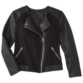 Pure Energy Womens Plus Size Faux Leather Motorcycle Jacket   Black 3X