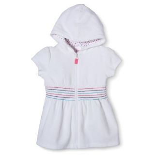 Circo Infant Toddler Girls Hooded Cover Up Dress   White 18 M