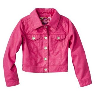 Dollhouse Girls Faux Leather Quilted Jacket   Pink 10 12
