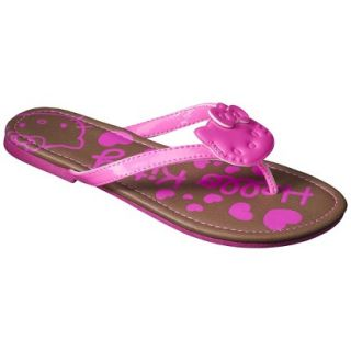 Girls Hello Kitty Flip Flop Sandals   Neon Pink XL
