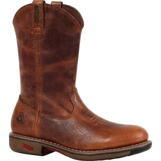 Rocky Ride 11In. Waterproof Western Boot   Palomino, Size 8 Wide, Model 4181