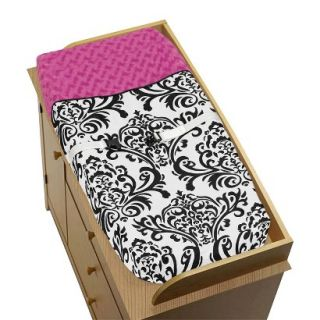 Hot Pink, Black and White Isabella Changing Pad Cover