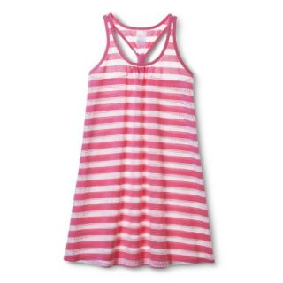 Girls Striped Cover Up Dress   White/Pink L