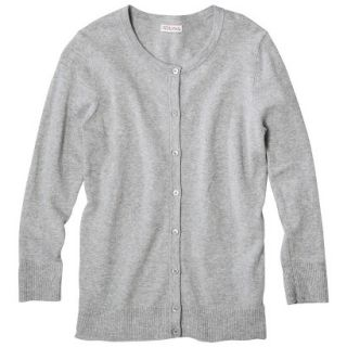 Merona Petites Long Sleeve Crew Neck Cardigan Sweater   Gray XLP