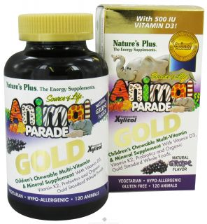 Natures Plus   Source of Life Animal Parade Gold Childrens Chewable Multi Vitamin & Mineral Natural Grape Flavor   120 Chewable Tablets