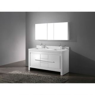 Madeli Vicenza 60 Double Bathroom Vanity with Quartzstone Top   Glossy White