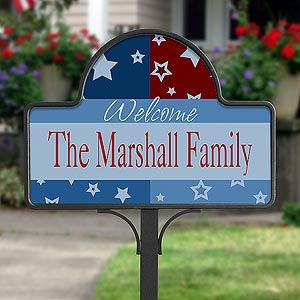 Family Name Personalized Yard Stakes   All American