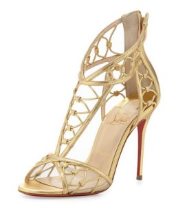 Martha Metallic Napa Red Sole Sandal, Gold   Christian Louboutin