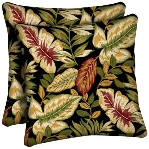 Hampton Bay Twilight Palm Outdoor Throw Pillow (2 Pack) AC32554X 9D2