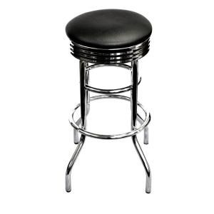 Trinity 29 in. Chrome Swivel Barstool in Black TWE 1101