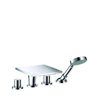 Hansgrohe Axor Massaud 1 Handle Deck Mounted Roman Tub Faucet with Handshower in Chrome 18440001